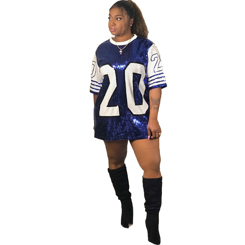 Sequin Long O Neck T Shirt Party Club Top Loose Clothes Blue White Number 20 ZETA PHI BETA Sorority Sequin T Shirt Clothing