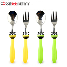 BalleenShiny Cartoon Insect 2pcs/set Tableware Set Children Student Spoon Fork for Soup Rice Stainless Steel Kitchen Dinnerware