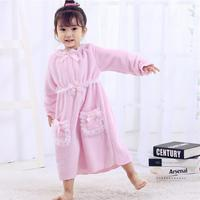 Baby girl cute thicker flannel nightgowns autumn winter new good quality sleepdress children bow lace pricess home clothes ws162