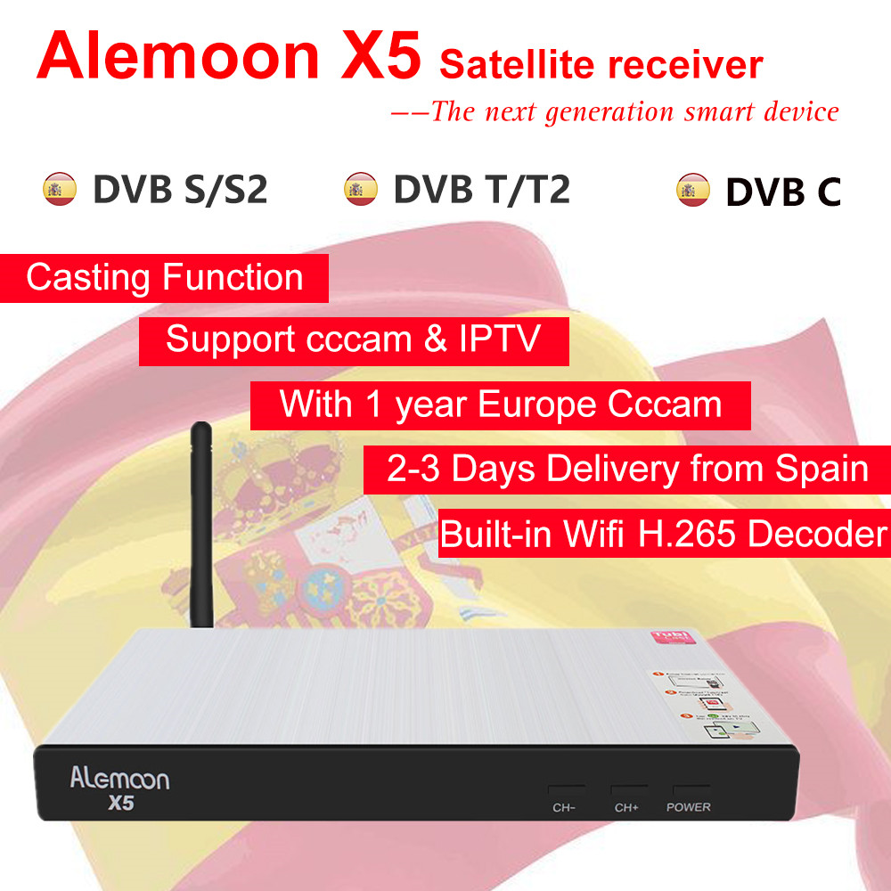 Alemoon X5 Support DVB S2 T2 Cable WiFi H 265 Casting Screen IPTV Satellite Receiver Decoder