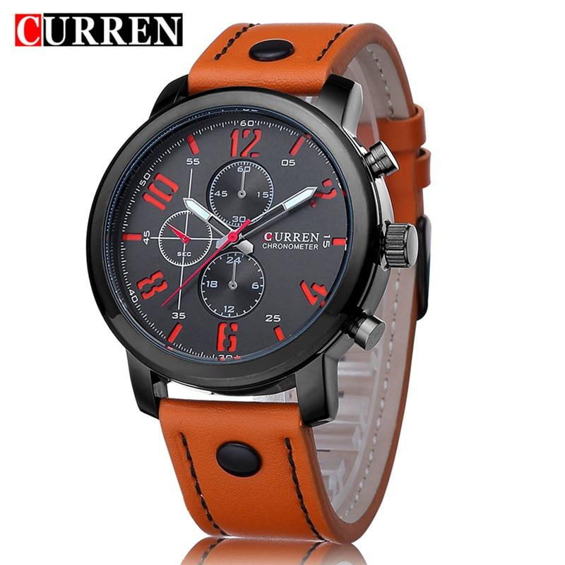 2016 Men Curren Watches Relogio Masculino Fashion Montre Homme Hombre Quartz-Watch Male Watch Leather Wristwatches KREa13