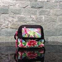 National Custom Style Lady Bags Canvas Embroidered Flowers Vintage Women Hand Bag Shoulder Messenger Crossbody Bag