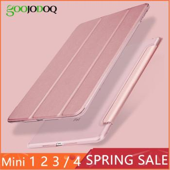 For Apple iPad Mini 4 3 2 1 Case, GOOJODOQ Slim PU Leather Translucent PC Hard Back Smart Cover for iPad Mini 4 Case Auto Sleep