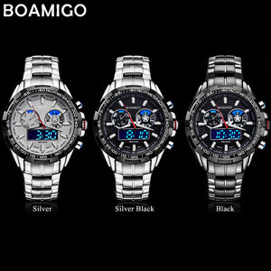 Image 4 - BOAMIGO 最高級ブランドの男性のスポーツは、軍事ファッションビジネス鋼デジタルクオーツ腕時計ギフト時計レロジオ masculino