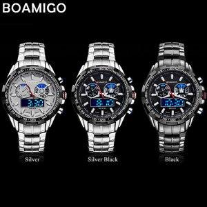 Image 4 - Boamigo 최고 럭셔리 브랜드 남자 스포츠 시계 군사 패션 비즈니스 철강 디지털 쿼츠 시계 선물 시계 relogio masculino