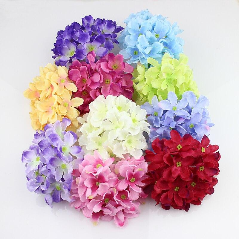 11 cm Grandes Hortensias Cabeza de seda artificial hortensia flores decoración p