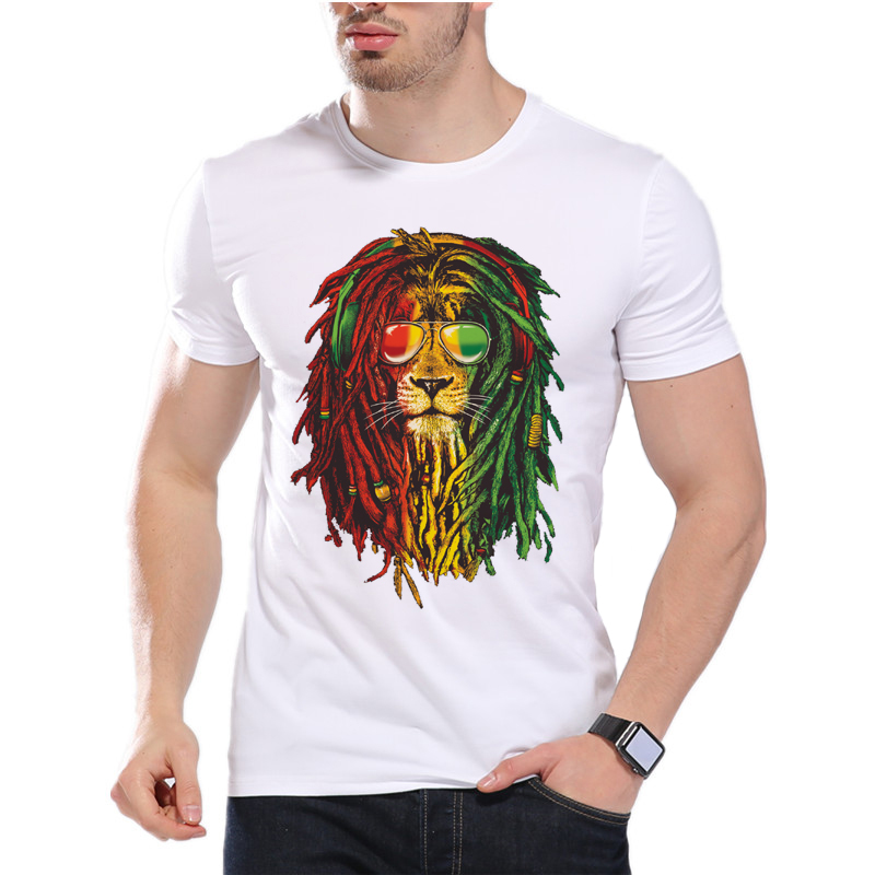 Lion Africa Power T Shirt Printing Rasta Reggae Music Men's Fashion Game Of Thrones Jon Snow Print Short Sleeve T Shirt D6-1#