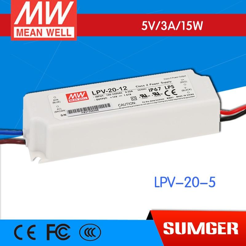ФОТО [Freeshiping 2Pcs  ] MEAN WELL original LPV-20-5 5V 3A meanwell LPV-20 5V 15W Single Output LED Switching Power Supply
