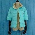 Зимняя куртка женщины половина рукава высокий воротник тонкий Ватник 5 цвета новое прибытие 2016 зима женщины тонкий пиджак
