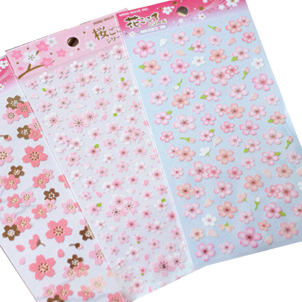 Estilo japão sakura flor de cerejeira oriental stickes diário deco scrapbooking mascaramento de material de PVC folha de adesivo Memo Pad Adesivos 1
