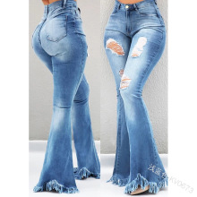 Fashion Loose High Waist Women Wide Leg Jeans Office Lady Solid Denim Jeans Bleached Ripped Pants