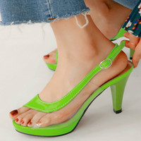 Womens Slingback Peep Toe Green Sandals Shoes Summer Shoes Women Shoes Plus Size 33 43 High Heel Clear Sandals