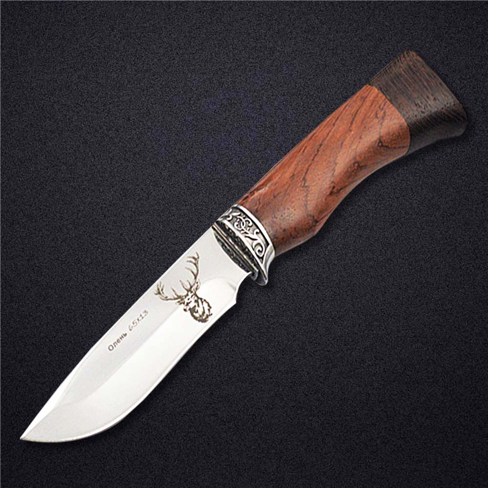 DOXA 440C Stainless Steel Fixed Blade Hunting Knives Wenge Wood Handle Outdoor Survival Straight Knife Wild Deer Pattern Gift