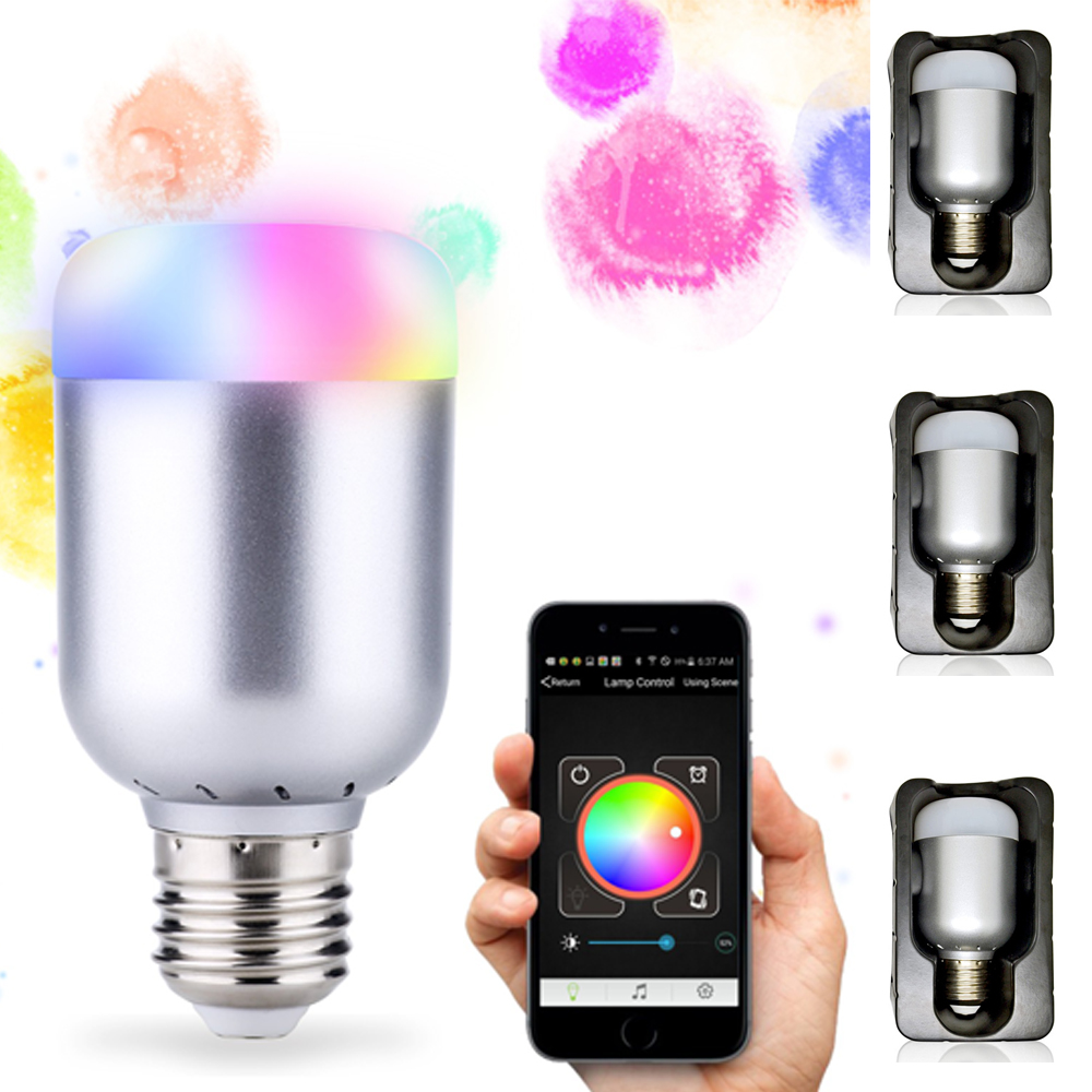 3pcs/lot RGB LED Bulb Bluetooth Smart Lighting Lamp Colorful Dimmable Speaker Lights Bulb With Remote Control free shipping