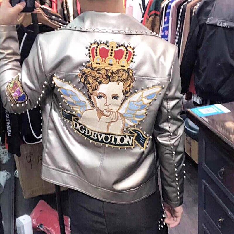 Mens Genuine Leather Bling Embroidery Blazer Bar Coat Jacket Studs Rivets Show Dress Gold Sliver Black Red