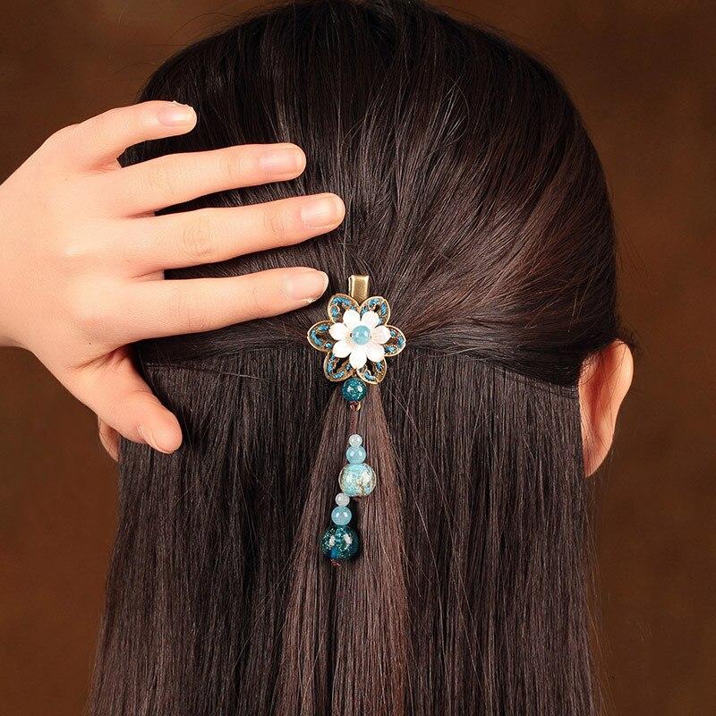 Vintage coquille fleur épingle à cheveux chapeaux à la main Barrettes ancien Costume accessoire cheveux ornements chinois ethnique pince à cheveux