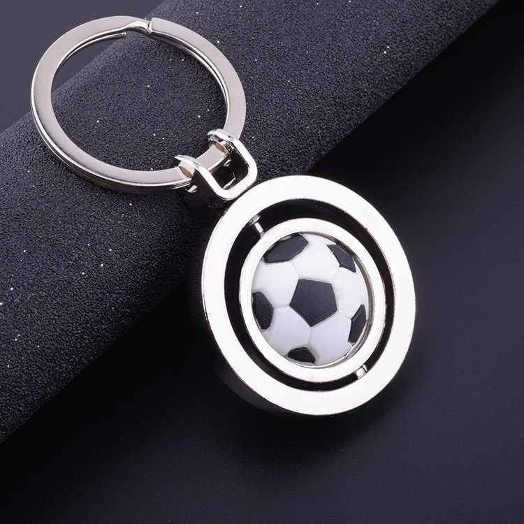 Nueva rotación de fútbol llavero moda deporte fútbol pelota llaveros niño bolsa colgante Trinket Golf baloncesto llavero regalo