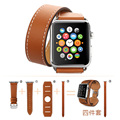Fohuas extra longo couro genuíno pulseira pulseira de couro pulseira de banda dupla turnê para apple watch série 2 38mm 42mm mulheres