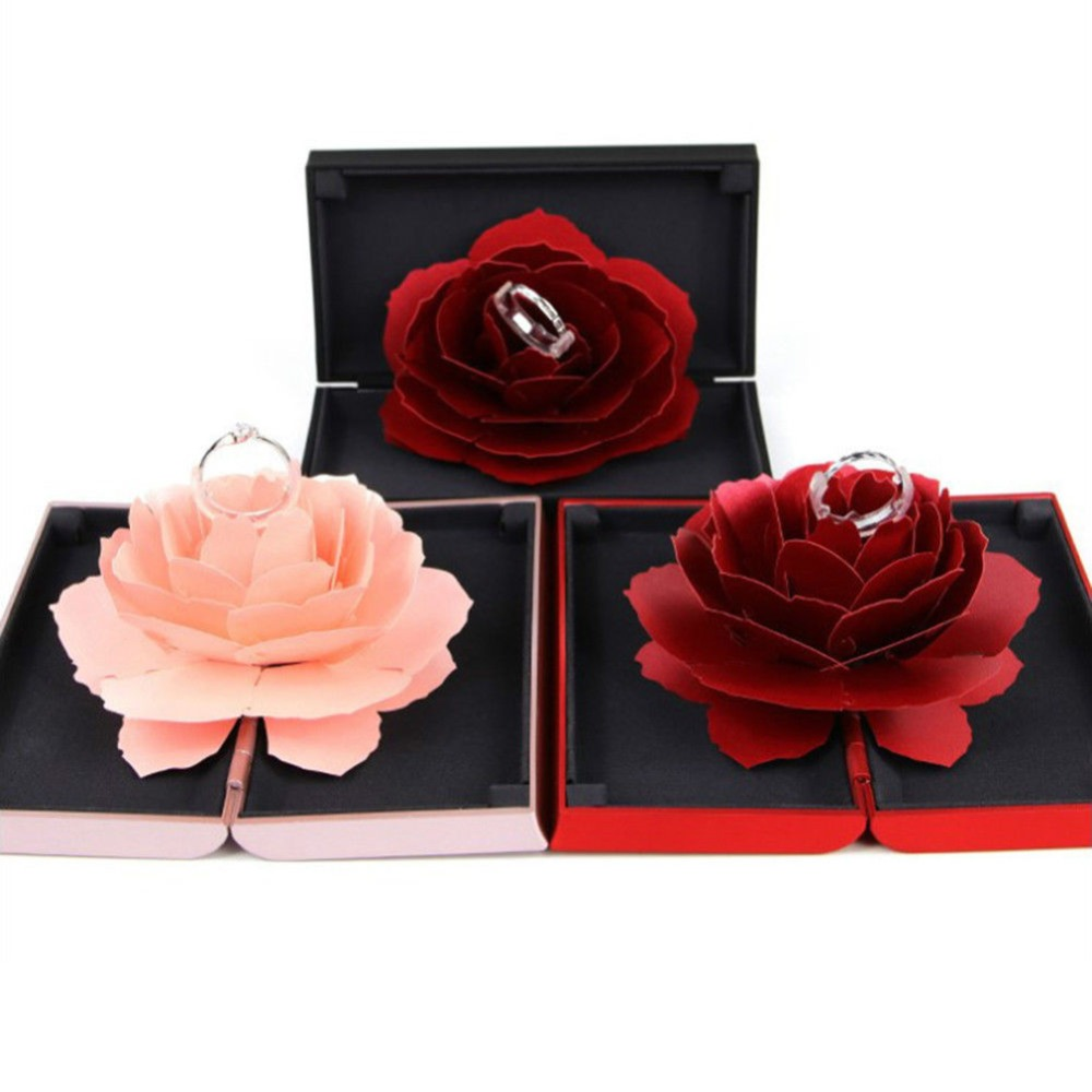 2019 New Foldable Rose Ring Box For Women 2019 Creative Jewel Storage Paper Case Small Gift Box For Rings