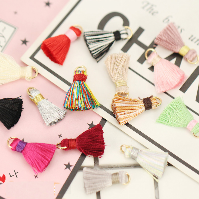 10pc Simple With a jump ring Fashion multicolor rayon tassel Earrings Drop charm Ear Studs tag Jewelry DIY headdress findings