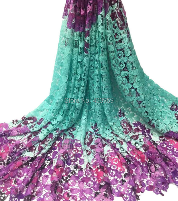 The New Listing Favourite Light Blue And Purple Printed Mesh Lace For Party Dress,AW16 High Class And Good Price Net Lace