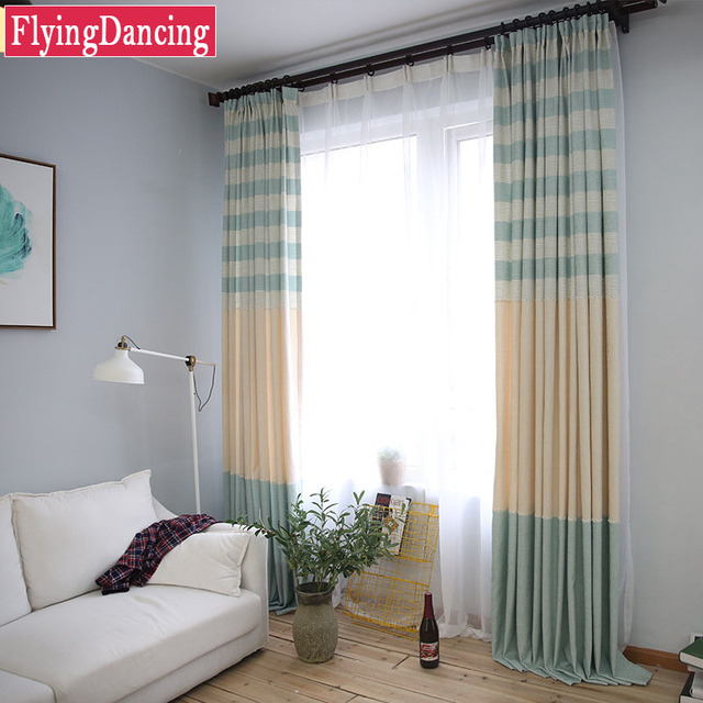 Simple Linen Stripe Kitchen Curtains For Custom Living Room Customization  Bedroom Ready Made Curtains For Balcony