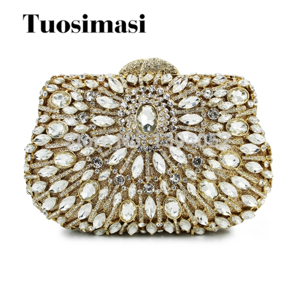 gold crystal evening clutch bag bling rhinestone bag ladies purses(8781A-GS) faux crystal mosaic clutch evening bag