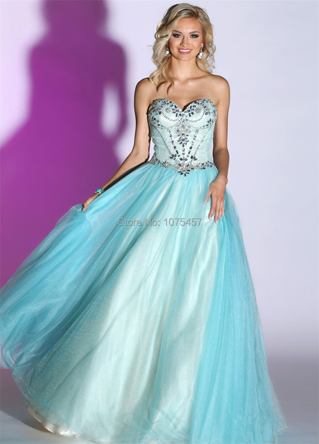 f917adef4 El último Diseño de Vestido de Fiesta Azul Turquesa Envío Rápido 2015  Sweetheart Moldeado Cristalino Del