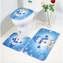 3pcs/set Bath Mat Christmas Print Non Slip Toilet Bathroom Pad Floor Mat Rug Carpet Absorbent Pedestal Rug Lid Toilet Cover цена 2017