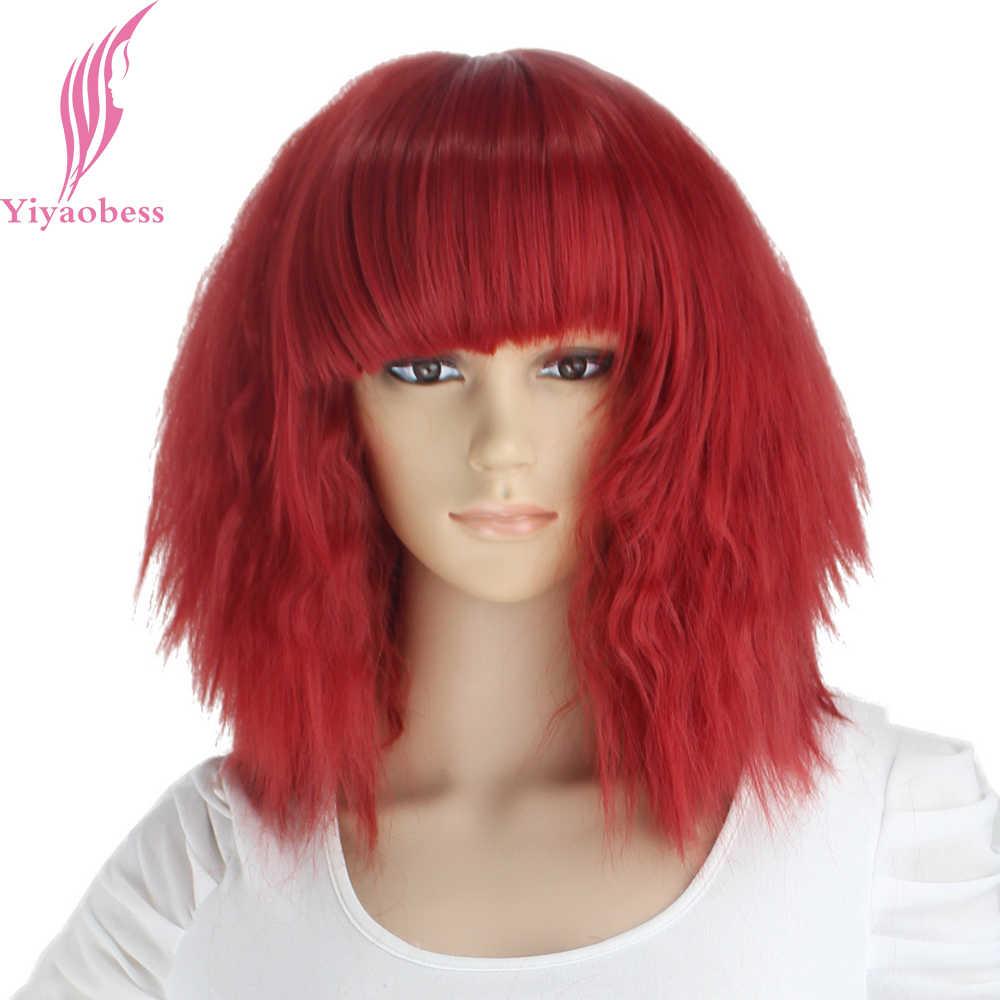 Yiyaobess 14 дюймов кудрявый прямой парик для косплея синтетический красный золотой обёрн желтый синий розовый коричневый короткие женские парики с челкой