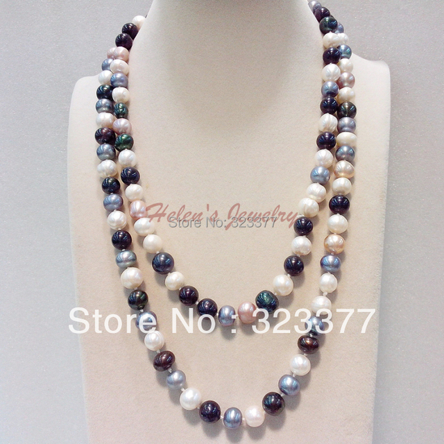 125cm Long 9-10mm Nearround Multicolor /White Pink And Black Natural Freshwater Pearl Necklace!