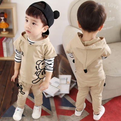 Childrens suite 2018 autumn new 1-3 year old boy fashion cartoon cubs leisure three sets