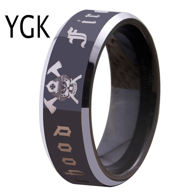 Free Shipping Customs Engraving Ring Hot Sales 8mm Black With Shiny