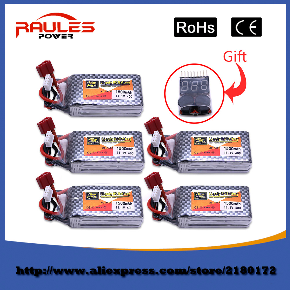 5pcs Lipo Battery 11 1V 1500Mah 3S 40C Max 60C XT60 Plug For font b RC