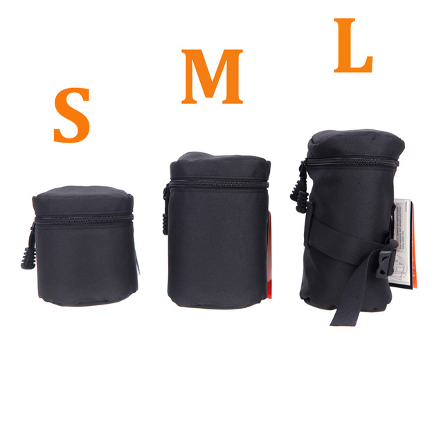 Andoer Waterproof Padded Protector Camera Lens Bag Case Pouch for DSLR Nikon Canon Sony Lenses Bag Black Size S M L