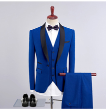 MarKyi 2018 new collar patched wedding suits for men 3 pieces plus size 4xl songle button suit set mens classic