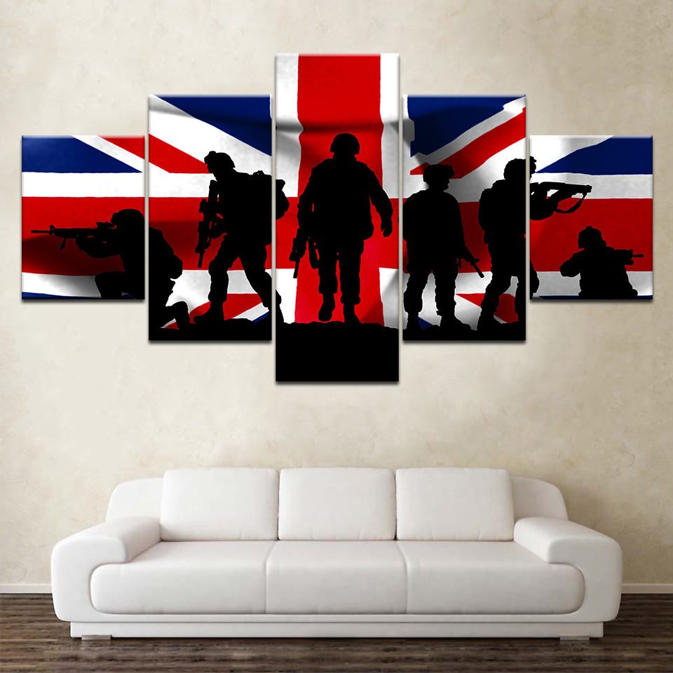 The Uk Army And Flag 5 Piece Canvas Wallpapers Modern Modular Poster