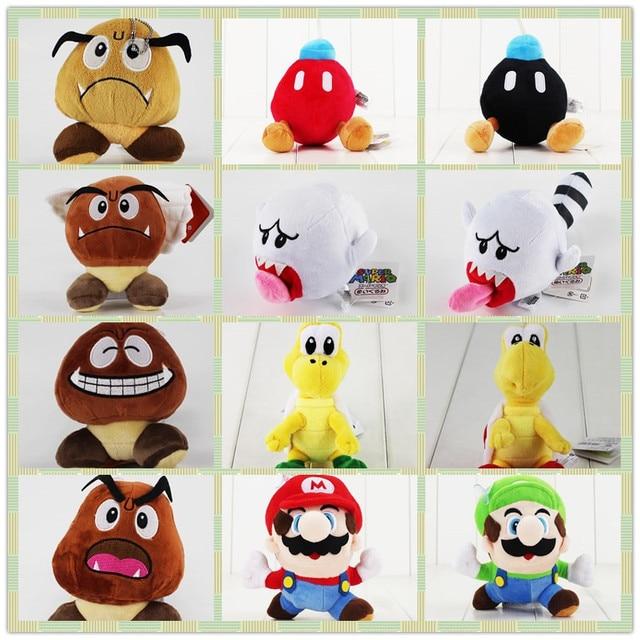 8-21 cm juego de Super Mario Bros lindo muñeco de peluche de Goomba de juguete Luigi Mario Boo fantasma Troopa tortuga bomba suave relleno para niños