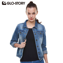 GLO-STORY Jacket Women 2016 Spring Women Denim Jacket Vintage Harajuku Slim Jeans Women Coats WFY-1017
