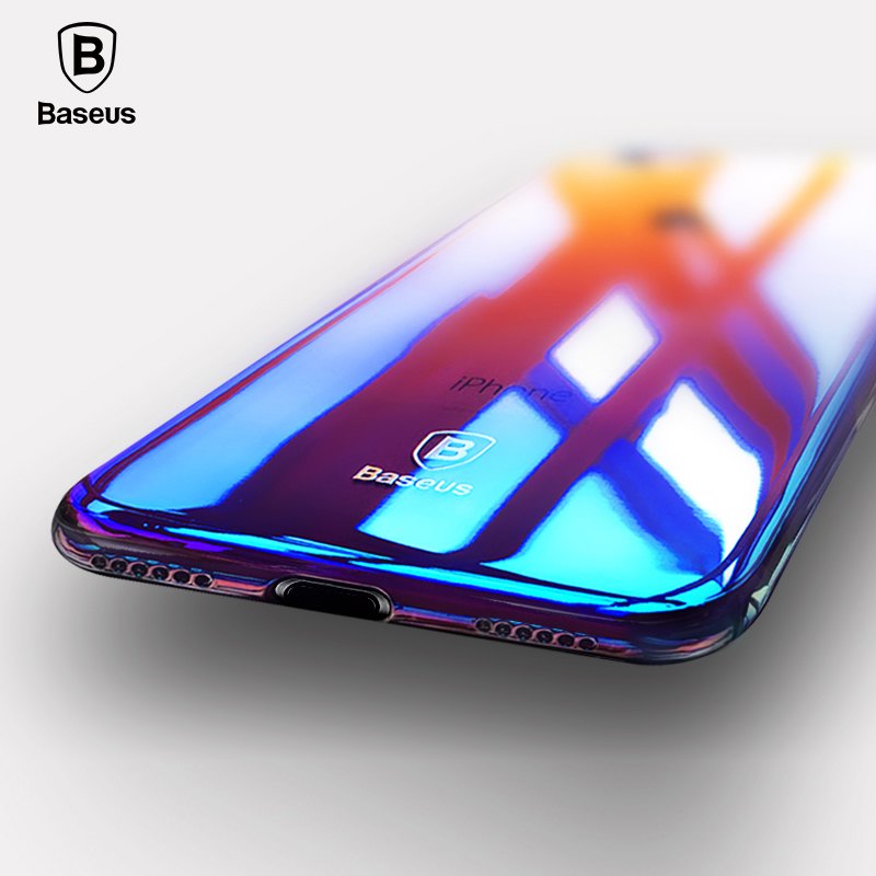 For iPhone 8 Case, Baseus Luxury Plating Gradient Hard Plastic Case For iPhone 8 8 Plus 7 7 Plus Cases Ultra Thin Bcak PC Cover