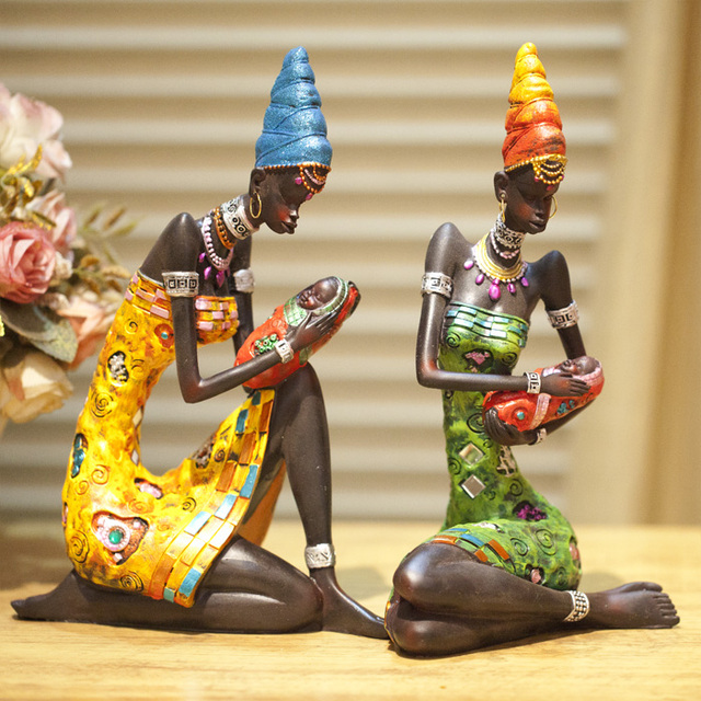 Buy Doll Furnishing Articles Resin Crafts Home Decoration: Free Shipping Fashion African Figures Ornaments Resin