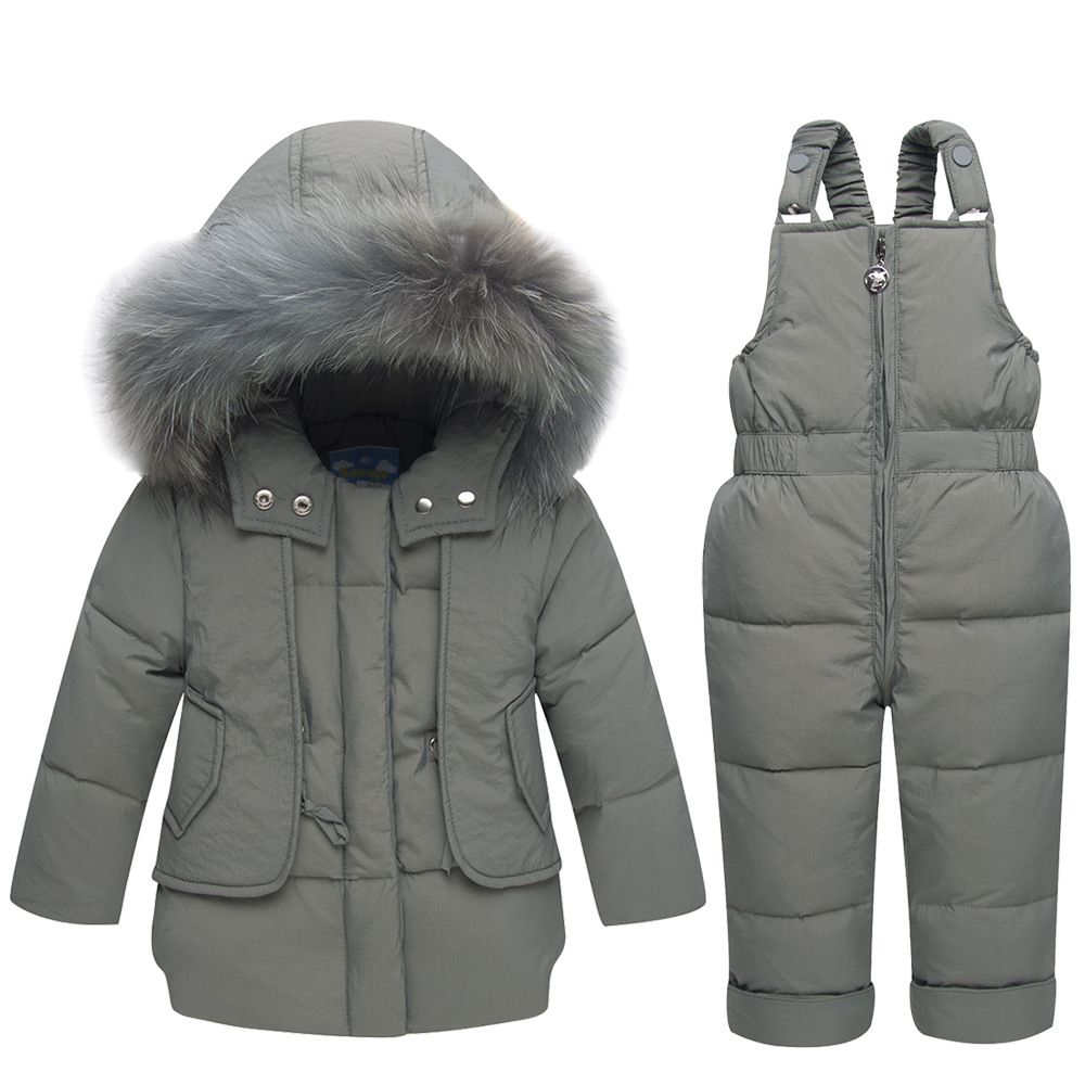 2018 Winter Warm Baby Duck Down Jacket For Boy Girl Children Clothing Set Coat Kids Clothes Warm Fur Hooded Outerwear стоимость