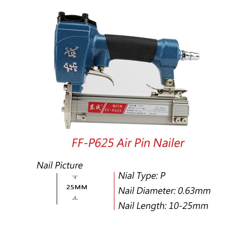 FF-P625 Air Pin Nailer 4-8 bar Stapler for Grain Nail 100 pieces Length 10-25mm Mosquito Pneumatic
