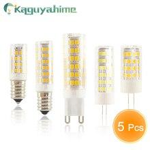 Kaguyahime 5 unids/lote LED E14 G9 G4 bulbo de lámpara de bombilla regulable 3w 5w 9w AC 220V DC 12V SMD2835 COB G4 LED G9 lámpara reemplazar halógeno