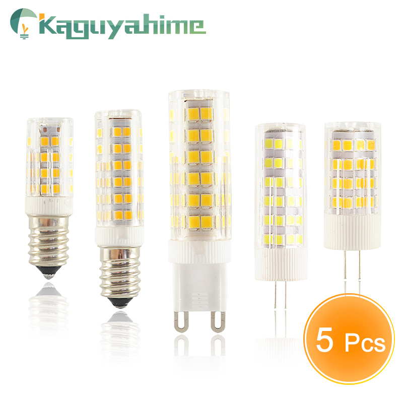 Kaguyahime 5PCS/LOT LED G9 G4 E14 Lamp Bulb Dimmable Bulb 3w 5w 9w AC 220V DC 12V SMD2835 COB G4 LED G9 Lamp Replace Halogen
