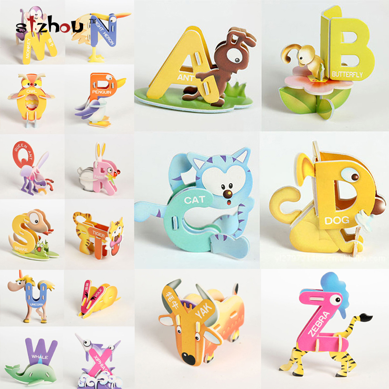 creative cartoon animal design alphabets puzzles 26 letter set az 3d diy educational early abc english learning toy for kids