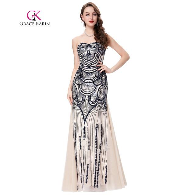 Strapless Mermaid Prom Dress 2018 Grace Karin Long Vintage Formal ...