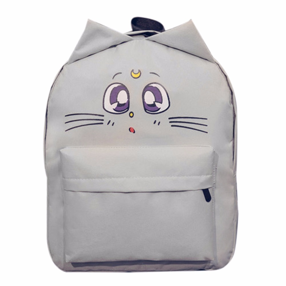 Cute Cat Ear Canvas Printing Backpacks for Teenage Girl Summer Fashion Student Cartoon Cute School Bag Bagpack mochila sac a doc children school bag minecraft cartoon backpack pupils printing school bags hot game backpacks for boys and girls mochila escolar