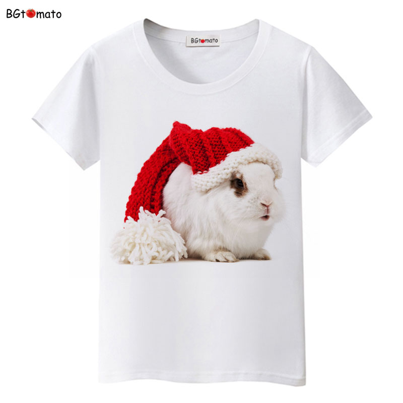 BGtomato lovely Christmas rabbit t shirt women summer clothes fashion tshirt top tees t-shirt kawaii shirt plus size ...
