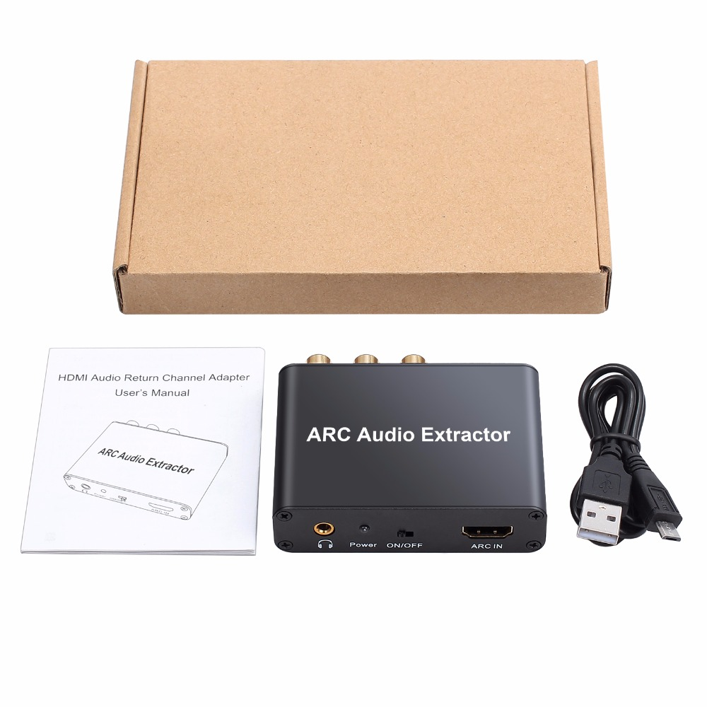 192KHz Aluminum ARC Audio Adapter HDMI Audio Extractor Digital to Analog Audio Converter DAC SPDIF Coaxial RCA 3.5mm Jack Output